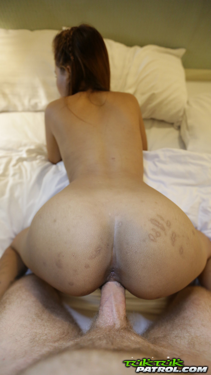 Petite Asian darling May gets her hairy pussy fucked after she gives a blowjob