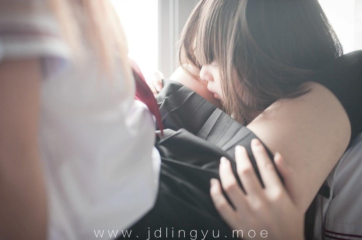 Two girls in school uniform