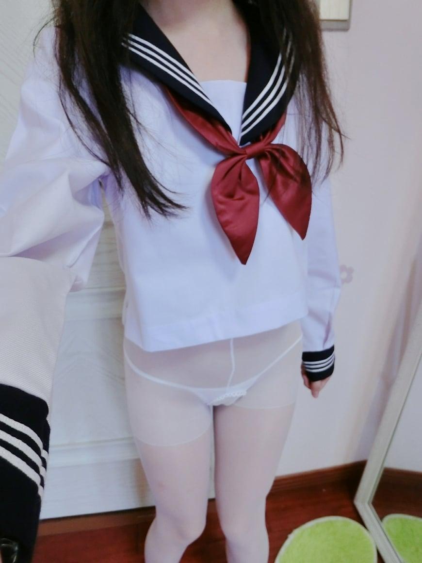 Net Celebrity Girl-Erogant Fairy-White Silk in Uniform-(47P)